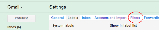 Gmail Settings tabs