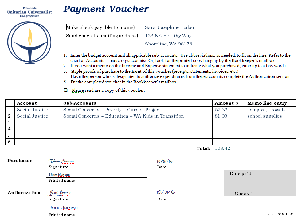 Sample Payment Voucher
